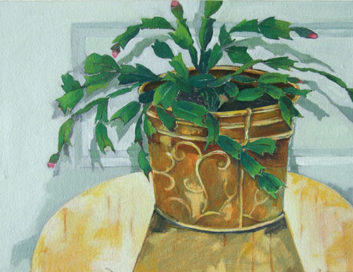 Christmas Cactus - acrylic 9in x 12in - $900