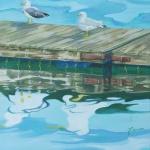 Gulls on Dock - acrylic 16in x 12in $900