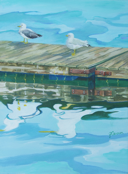 Gulls on Dock - acrylic 16in x 12in $900