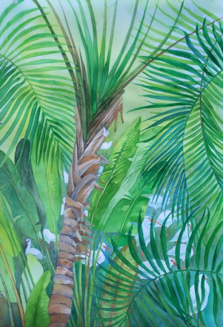 Ibises and Palms _ watercolor 22inx15in - $800