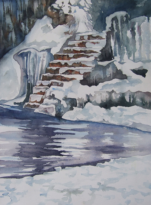 Icy Pool watercolor 22in x 16in - $900