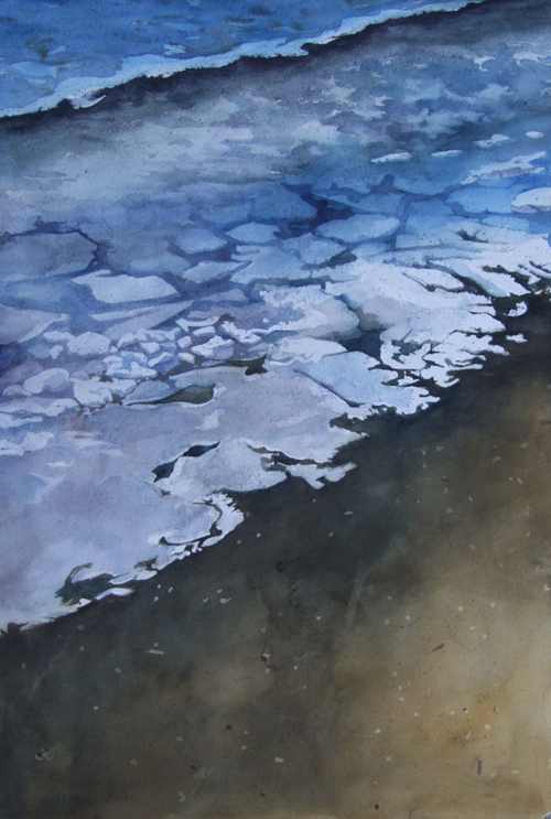 Icy Shore 2 watercolor 22in x 15in - $800