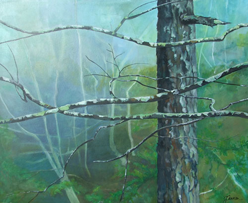Lichen and Mist - acrylic 16in x 20in - $1800
