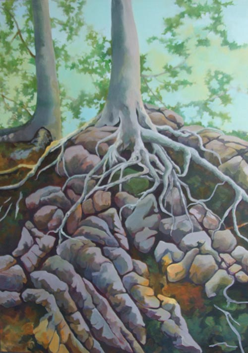 cedars_and_stones _ acrylic, 28inx20in - $3000