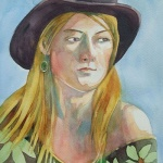 cowgirl _ watercolor 14inx11in - $400