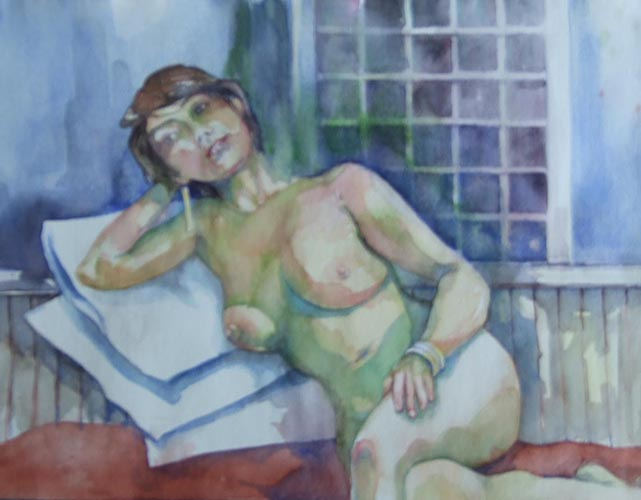 denise _ watercolor, 11inx14in - $350