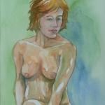 green nude _ watercolor 14inx11in - $400