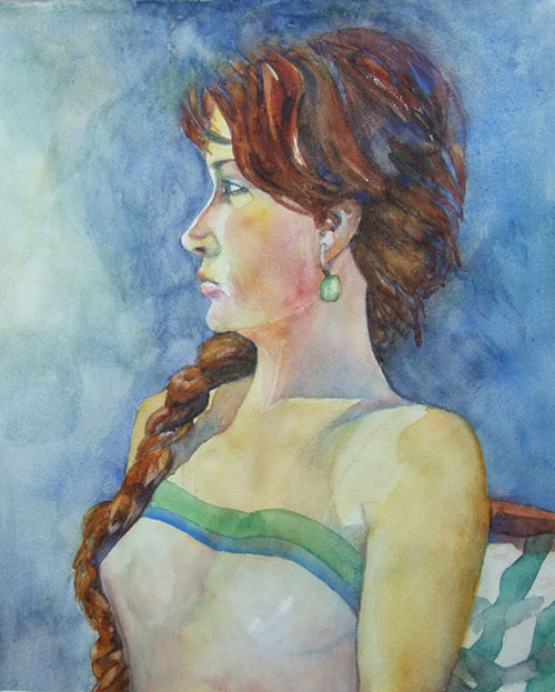 michelle _ watercolor 20inx15in - $500