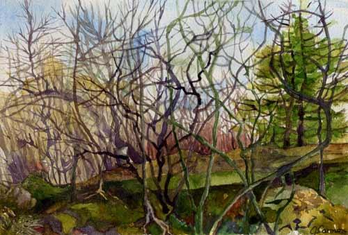 mud season - watercolor 8in x 10in - $400