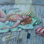 reclining nude with device _ watercolor 15inx22in - $900