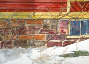 red house 3 _ watercolor - 11inx15in - $500