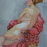 red nude _ watercolor 14inx11in - $400