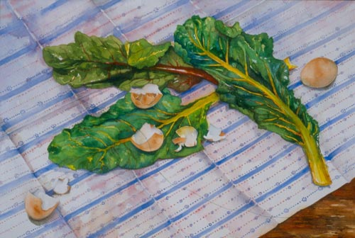 Swiss chard and eggs - watercolor 15in x 22in - $900