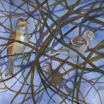 tree_sparrows _ watercolor 11inx15in - $500