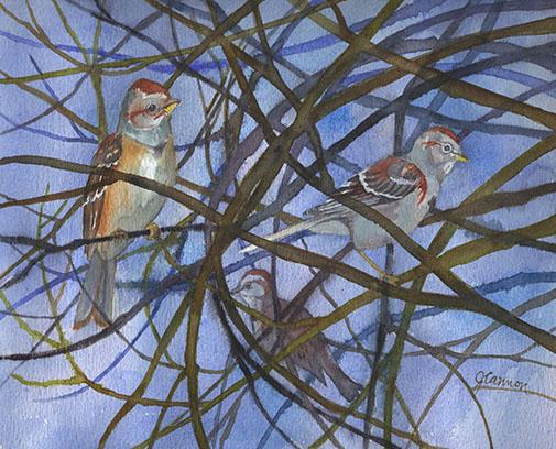 tree_sparrows _ watercolor 11inx15in - $500