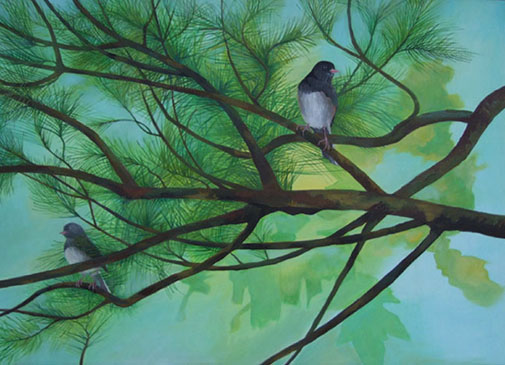 two_juncoes _ acrylic 20inx28in - $3000