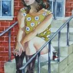 waif - watercolor 14in x 11in - $400